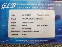 Foto 3 9,20 ct , ECHTER - VVS , TOP Golden Yellow Citrin + GLB Zertifikat