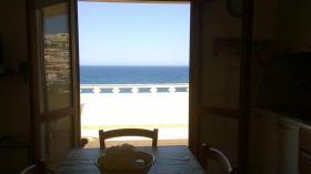 Meerblick aus der Wohnküche mit Schlafsofa für 2 Personen