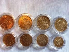 Foto 3 AUS SAMMLUNG 8 Gold Münzen, 5M, 10 M, 20 Mark vom Kaiserreich, sehr seltene Stücke dabe