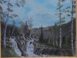 Alaska Landschaftsgemälde in Öl, Wasserfall
