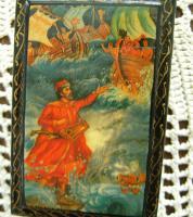 Antike russische Lackdose Miniaturmalerei , signiert
