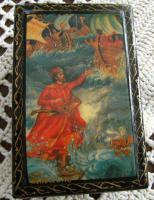 Foto 2 Antike russische Lackdose Miniaturmalerei , signiert