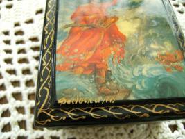 Foto 3 Antike russische Lackdose Miniaturmalerei , signiert