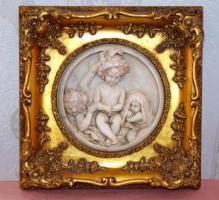 Antiker Echtholz/Gipsrahmen mit Marmorbild