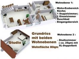 Grundriss mit beiden Etagen des Appartements Sylter Deichwiesen
