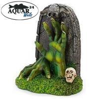 Aquarium Dekoration Glows in the Dark Zombie Hand Tombstone