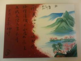 Asiatisches Gemälde mit Acrylfarben