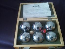 B O U L E - SPIEL aus 6 Silberne-Metallkugeln, 4,8 kg schwer