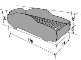 Foto 8 Babybett Kinderbett Jugendbett Autobett Holz Bett 5 Farben DODGE 170/74 cm