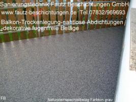 Foto 2 Balkonsanierung, Terrassensanierung, fugenfrei, frostsicher, dekorativ und pflegeleicht. Von Sanierungstechnik Fautz in Wald Michelbach, Aschbach, Sensbachtal, Mörlenbach, Birkenau, Rimbach, Erbach, Michelstadt, Beerfelden.Tel.07832/969693 alles aus einer Hand.
