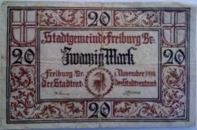 Banknote 20 Mark Stadtgemeinde Freiburg 1.11.1918