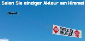 Banner-Flugwerbung: die effektiven himmlischen Grüße aus dem Bodenseeraum und auch deutschlandweit