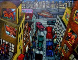 Basel*  Ölgemälde Love Street >New York< @ Night