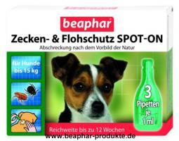 Beaphar Zecken- und Flohschutz SPOT-ON für Hunde bis 15kg