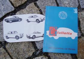 Betriebsanleitung Alfa Romeo Giulietta I / 1958