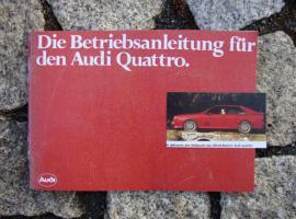 Betriebsanleitung Audi Quattro 1982