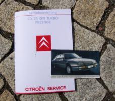 Betriebsanleitung Citroen CX 25 GTi Turbo 2 u. Prestige / 1985