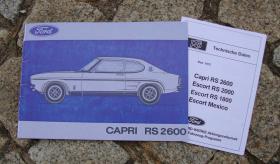 Betriebsanleitung Ford Capri I RS 2600 1972