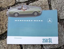 Betriebsanleitung Mercedes 250 SL / 1967 Pagode