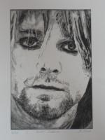 Bild: Radierung Kurt Cobain (Nirvana, Sänger, Gitarrist, Rockmusik, Grunge...)