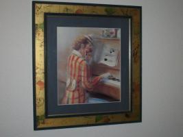 Bild '' Clown am Klavier '' von H. Müller , selten!