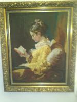 Bild '' die Lesende Frau '' - Meister Gobelin im Gemälderahmen - Exquisite Verarbeitung