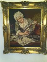 Bild - '' Magd beim Silberputzen '' im klassischem Gemälderahmen-hochwertig