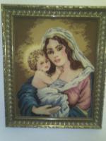 Bild '' Maria mit Jesuskind '' Gobelin der Spitzenklasse im Gemälderahmen