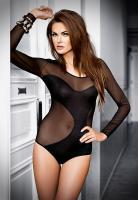 Body Sexy Wave - Heisser langarm Body aus feinem Tüll mit modischem Gewebeeinsatz