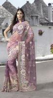 Bollywood-Fashion Malvenfarbigen sari (saree) mit Blusenstoff