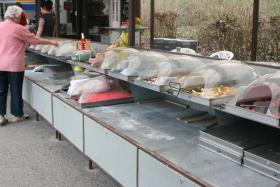 Bonbonverkaufsstand ca. 2x3m , komplett mit ca. 28 Edelstahlkästen
