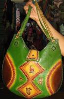Foto 3 Braune Handtasche mit peruanischen Motiven, echt Leder