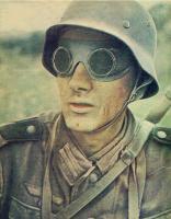 Brille eines Kradschützen.