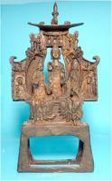 Buddha-Altar, Hausschrein, Hausaltar, Skulptur, Asien, Indien, Widmungsinschrift