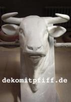Bullenkopf, Stierkopf, ''Aaron von der Alm'', zum an die Wand hängen, grundiert, 85cm / HAEIGEMO  Artikel-Nr.: 2255