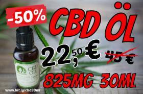 CBD Cannabis Öl 30ml 825mg nur 22,50€ 50% reduziert Aktions-Preis