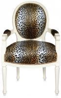Casa Padrino Barock Salon Stuhl Leopard Muster / Creme Medaillon Sessel