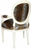 Foto 2 Casa Padrino Barock Salon Stuhl Leopard Muster / Creme Medaillon Sessel