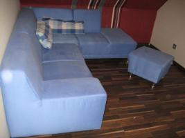 Couch, blau, mit Hocker