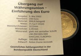 Foto 3 DEUTSCHLAND 200 EURO – A - D - F - G - J 2002 - Goldmünze