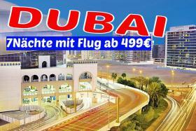 DUBAI  Hotel DOUBLE TREE HILTON  7 Nächte mit Flug ab 499€