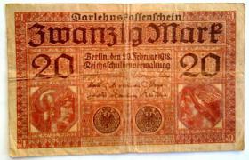 Darlehenskassenschein 20 Mark vom 20.2.1918