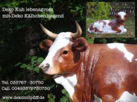 Foto 3 Deko Kalb liegend mit Deko Kuh …Tel. 033767 - 30750