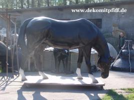 Foto 2 Deko Pferd lebensgross - Horse - Stute - Hengst - grasend - www.dekomitpfiff.de oder www.dekopferd.de