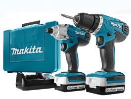 Details zu  Makita 14,4V Akku-Bohrschrauber DK1497 Akkuschrauber Schrauber Zubehör Set