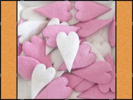 Diverse Streuteile - Thema Herzen - Weiß, Creme, Rosa