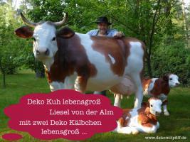 Du willst ne Deko Kuh mit zwei Deko Kälbchen lebensgroß