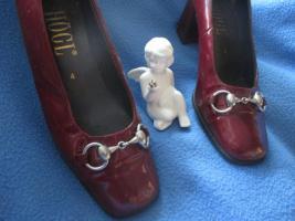 Foto 3 Edel * Echt * Lack Leder * Silber Spangen * Schuhe * Pumps ''HÖGL'' Gr. 37/ 4 * bordaux- dunkel- wein- rot *