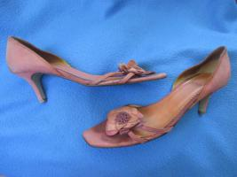 Foto 5 Edel * Original VINTAGE * 3D Blumen * Blüten * Flower- Power * Echt Leder * High Heels * Peep Toes * Cut Out * Pumps * Schuhe ''LODI'' Gr. 6½ * 39½ * 39,5 * zimt * lachs * aubergine * Pastell *
