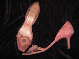 Foto 8 Edel * Original VINTAGE * 3D Blumen * Blüten * Flower- Power * Echt Leder * High Heels * Peep Toes * Cut Out * Pumps * Schuhe ''LODI'' Gr. 6½ * 39½ * 39,5 * zimt * lachs * aubergine * Pastell *